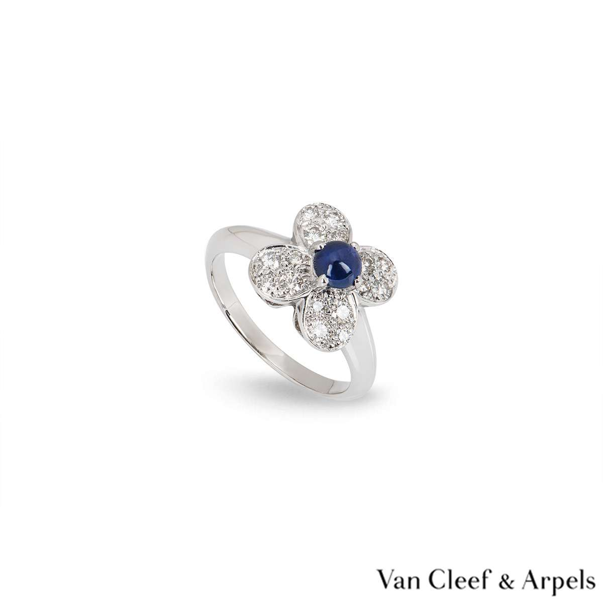Van Cleef & Arpels White Gold Sapphire & Diamond Alhambra Ring